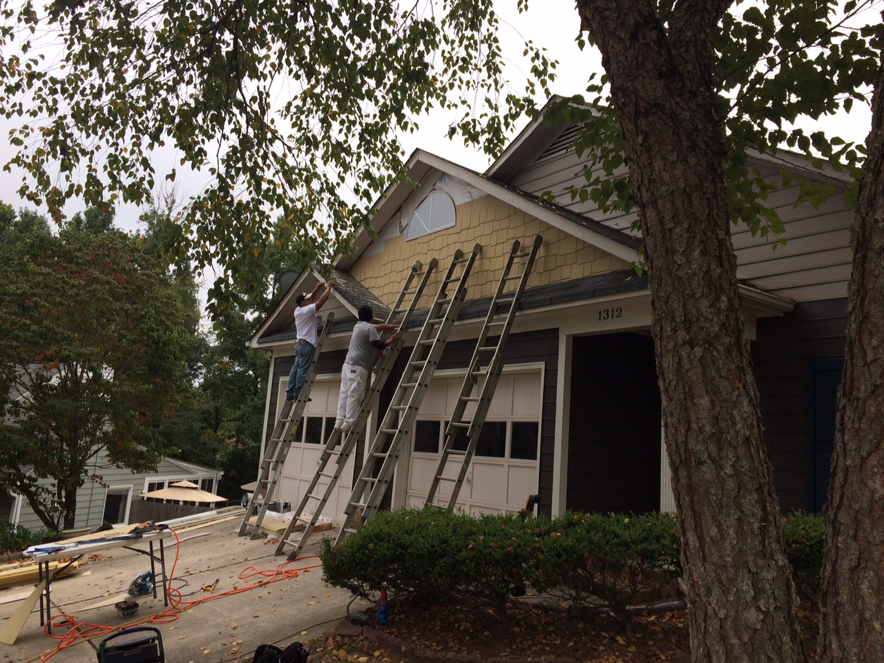 In Progress: Belk Builders is replacing this Concord, NC, home's siding with HardiePlank and shake siding in