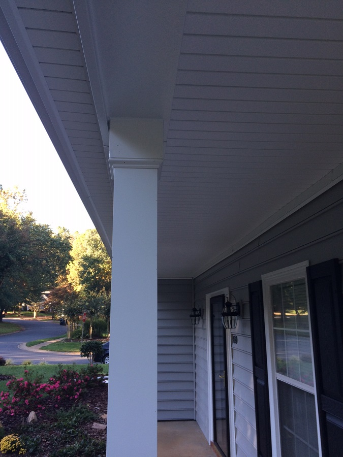 Post and finish details of porch upgrade.