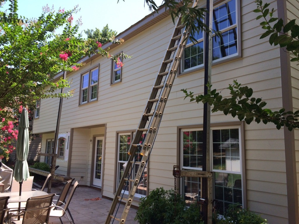 In progress siding installation in South Charlotte's Cameron Woods community