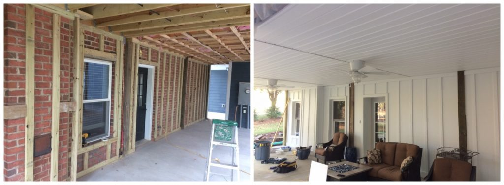 before-and-after Lake Norman Covered Porch Dry Deck Space