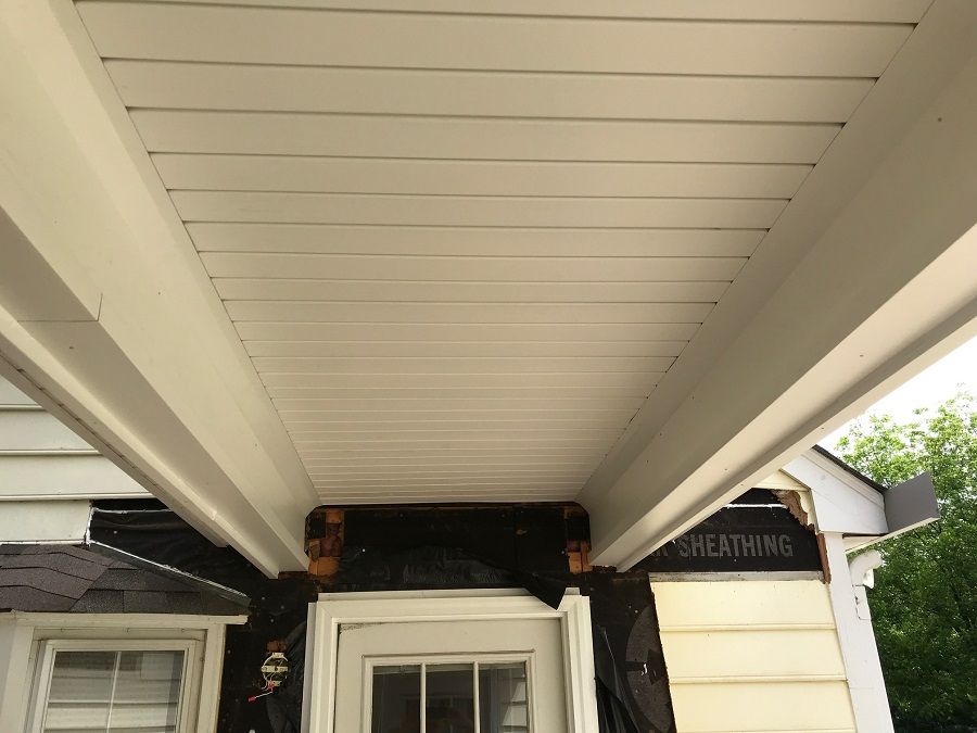 During HardiePlank siding installation by Belk Builders.
