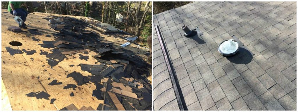 Before and after Belk Builders roof replacement