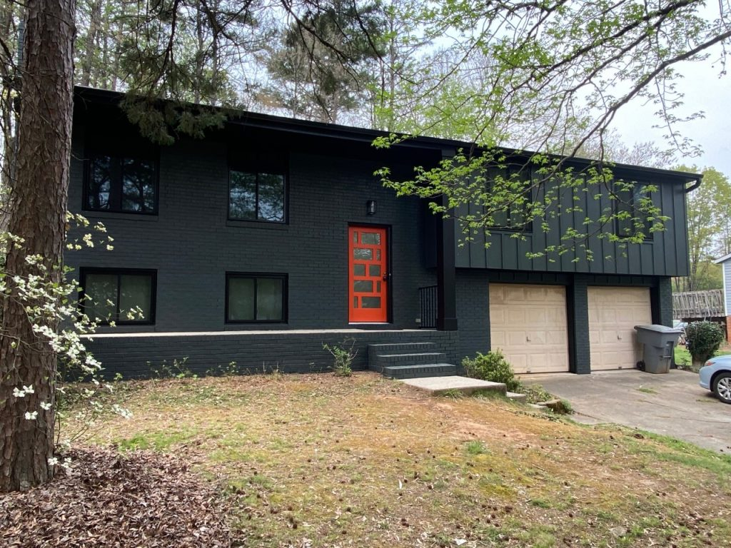 south charlotte exterior makeover with mid century modern aesthetic